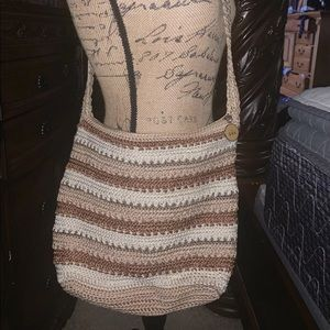 BEAUTIFUL STITCHED BROWN LARGE SIZED BAG: THE SAK